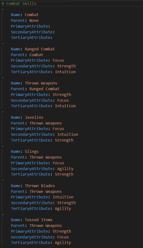 Combat Skill Metadata